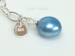 Royal Blue Pearl & Sterling Silver Extension Chain