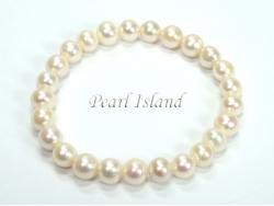 Classic White Roundish Pearl Elastic Bracelet 6-7mm