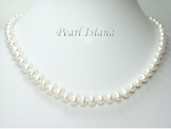 Classic White Roundish Pearl Necklace 6-7mm