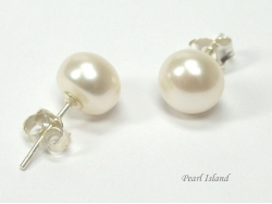 Bridal Pearls - Classic White Roundish Pearl Stud Earrings 7-7.5mm