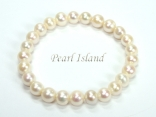 Classic White Roundish Pearl Elastic Bracelet 7-8mm