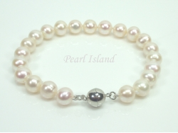Classic White Roundish Pearl Bracelet with Magnetic Clasp 7-8mm