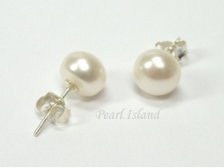 Classic White Roundish Pearl Stud Earrings 7-7.5mm