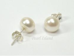 Classic White Roundish Pearl Stud Earrings 7-7.5mm