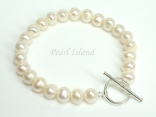 Classic White Roundish Pearl Bracelet 7-7.5mm with T-bar Clasp