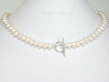 Classic White Roundish Pearl Necklace 7-7.5mm with T-bar Clasp