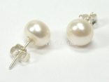 Classic White Roundish Pearl Stud Earrings 8-8.5mm