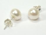 Classic White Roundish Pearl Stud Earrings 8-8.5mm