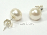Classic White Roundish Pearl Stud Earrings 8.5-9mm