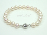 Classic White Roundish Pearl Bracelet with Magnetic Clasp 8-8.5mm