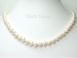 Classic White Roundish Pearl Necklace 8-8.5mm