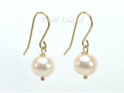 9ct Gold Freshwater White Pearl Drop Earrings 8-9mm