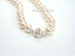 Classic White Pearl Necklace with Sterling Silver Magnetic Rose Clasp