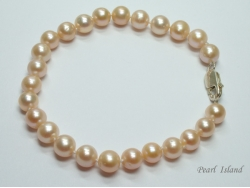 Classic Peach Roundish Pearl Bracelet 7-7.5mm