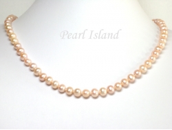 Classic Peach Roundish Pearl Necklace 7-7.5mm