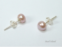 Classic Lavender Roundish Pearl Stud Earrings 5-6mm