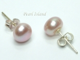 Classic Lavender Roundish Pearl Stud Earrings 7-8mm