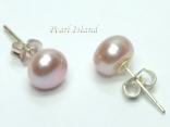 Classic Lavender Roundish Pearl Stud Earrings 7-8mm