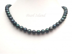 Classic Peacock Black Near Round Pearl Necklace 8-8.5mm