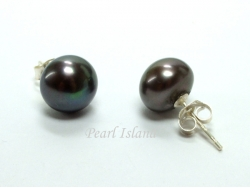 Classic Gun-Metal Grey Black Roundish Pearl Stud Earrings 7-8mm