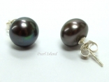 Classic Gun-metal Grey Black Roundish Pearl Stud Earrings 10-11mm
