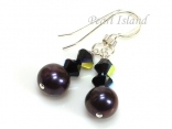 Classic Peacock Roundish Pearl & Black Crystal Earrings