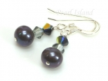 Classic Peacock Roundish Pearl & Black Diamond Crystal Earrings