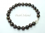 Classic Gun-Metal Grey Black Roundish Pearl Bracelet 7-8mm