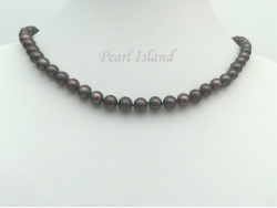 Classic Gun-Metal Grey Black Roundish Pearl Necklace 7-8mm