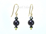 9ct Gold Peacock Freshwater Pearl & Black Swarovski Crystal Earrings