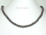 Classic Gun-metal Grey Roundish Pearl Necklace 6-7mm