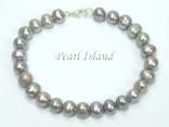 Classic Grey Roundish Pearl Bracelet 7-7.5mm