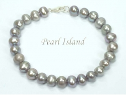 Classic Grey Roundish Pearl Bracelet 7-7.5mm