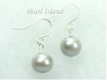 Classic Silver Grey Roundish Pearl Earrings 6-7mm