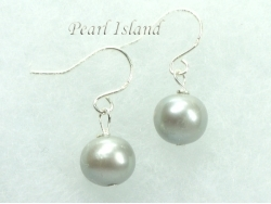 Classic Silver Grey Roundish Pearl Earrings 7-7.5mm