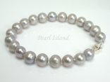 Classic Silver Grey Near Round Pearl Bracelet 7-7.5mm