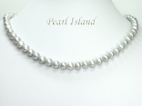 Classic Silver Grey Freshwater Pearl Necklace 7-7.5mm