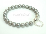 Classic Silver Grey Pearl Bracelet with Magnetic Clasp and Safety Chain
