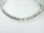 Classic Silver Grey Freshwater Pearl Necklace with Magnetic Clasp 6-7mm
