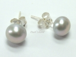 Classic Grey Roundish Pearl Stud Earrings 8-8.5mm