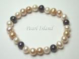 Harmony Sandy LBW Roundish Pearl Elastic Bracelet 7-8mm