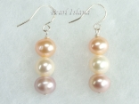 Harmony Lavender Peach White Roundish Pearl Earrings_7-8mm