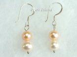 Harmony Peach White Roundish Pearl Earrings_6-7mm