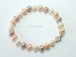 Harmony Lavender Peach White Roundish Pearl Bracelet_6-7mm