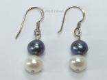 Harmony Black White 2 Pearls Earrings 7-8mm