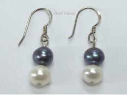 Harmony Black White 2 Pearls Earrings 7-8mm