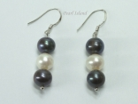Harmony Black White 3 Pearls Earrings 7-8mm