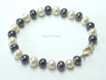 Harmony Black White Roundish Pearl Bracelet 7-8mm