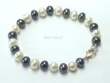 Harmony Black White Roundish Pearl Bracelet 7-8mm