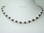 Harmony Black White Roundish Pearl Necklace 7-8mm